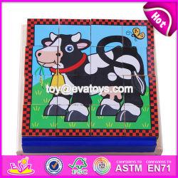 Nuevo diseño de juguetes educativos de madera de los niños Cube Puzzle W14F055