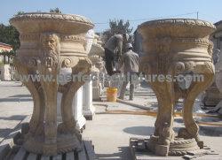 Jardin de fleurs pot avec pierre de grès calcaire de Marbre Granit (BAA326)