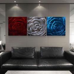 Rode Zilveren Blauw nam Ambacht van de Kunsten van de Muur van het Huis van het Olieverfschilderij van het Metaal van de Bloem 3D Moderne toe