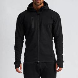 Hoodie com orifício para o polegar e blusão SPORTS Wear Black High Collar para homem