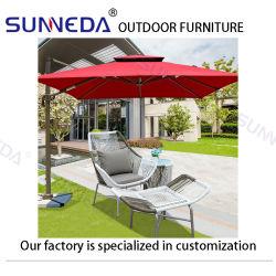 Nouveau style confortable coussin doux en osier Chaise en rotin ensemble de l'extérieur de la vigne