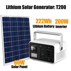222Wh 200W Íon de Lítio Bateria Solar Portátil gerador de energia Construído em inversor com marcação RoHS PSE DA FCC