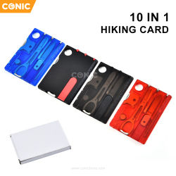 10 em 1 de várias ferramentas de cartão de crédito de Bolso Piscina sobrevivência material de campismo Portable caminhadas ferramentas de cartão