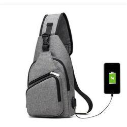 Mochila bandolera con puerto USB de carga de la bolsa de pecho de lienzo para mochila de senderismo Mens simples hombres Bolsa Teléfono móvil