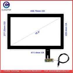 18,5-дюймовый емкостный сенсорный экран интерфейса USB (I2C и RS232 для опции) для систем POS