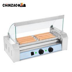 5-Roller Hot Dog eléctrico Grill con cubierta de vidrio