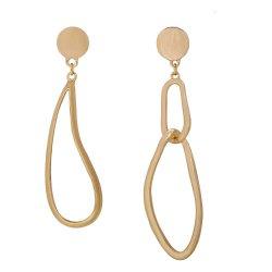 Groothandel Oem Women Fashion Promotion Gift Hanger Oorbellen Sieraden Geometrische Cirkel Drop Charm Goud Koper Aluminium Stud Earring