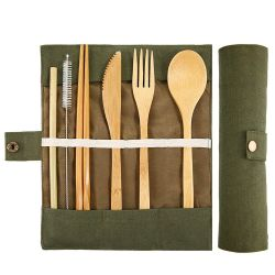 La coutellerie en bois de Bambou Zero-Plastic Ensemble de couteaux de la vaisselle de l'environnement