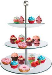 3 verre de niveau gâteau rond Stand, Cupcake tour ; le dessert des peuplements, affichage d'aliments pour mariage, Noël, Parti de douche de bébé