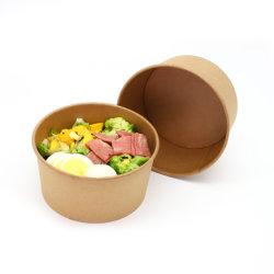 Plato caliente o frío para ir envasado Microwavable ecológica ronda los recipientes de comida Deli Tazón de papel Kraft con Secure tapas transparentes