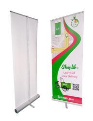 Horizontaler Standfuß mit Poster und aufrollbaren Bannern (DR-02)