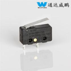 China Deslice el interruptor de micro de larga duración de 25t85 2pin Micro interruptor Spst con palanca