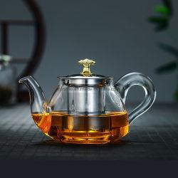 A China fez por grosso 400ml 600ml chaleira defina um design requintado de vidro transparente bule de chá com Filtro