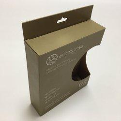 Embleem van de douane drukte het GolfVakje van het Karton van de Verpakking van de Plaat van de Kom van de Lepel van het Product van het Bamboe van het Document Verpakkende met het Vasthaken van Gat en Duidelijk Venster af