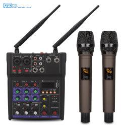 PRO integrado de áudio na 48V alimentação fantasma Mini USB Mixer de Áudio de 4 canais com 2 PCS microfone sem fio