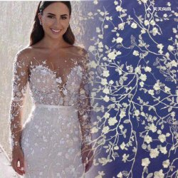 Kleine Blumen-Stickerei-Spitze für Hochzeit und Abend-Kleid