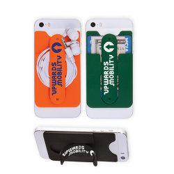 La impresión de logotipo personalizado adhesivo 3m de teléfono móvil de silicona Caso Tarjetahabiente Ultra-Slim Funda de silicona de Bolsillo para teléfono móvil teléfono accesorio con un toque U Soporte Soporte