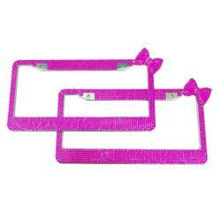 Мелочь Rhinestone Custom Diamond розового цвета на уровне стекла Rhinestone номерного знака для нас рамы автомобиля