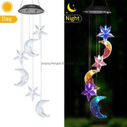 L'énergie solaire énergie solaire de la lampe témoin de Carillon de vent de changement de couleur de la Lune Étoile Carillon de vent Voyant DEL de l'énergie solaire Courtyard Voyant DEL de l'étoile de changement de couleur de la lampe de lune
