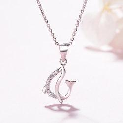 Manier 925 de Echte Zilveren Tegenhanger van de Dolfijn met de Duidelijke Juwelen van CZ
