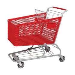 200L Kunststoffmaterial Hand Push Supermarkt Shopping Trolley