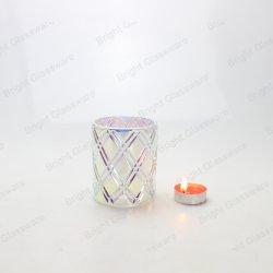 Commercio all'ingrosso di vetro del supporto di candela del Patten del diamante di Iridescence del cilindro