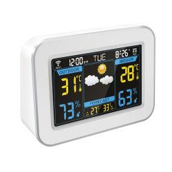 天気予報のデジタルLCDクロックとのホーム気象台の温度そして湿気