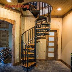 Venda a quente no interior do tubo de aço inoxidável balaustrada Wood Design escadaria em espiral
