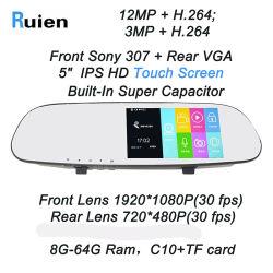 WiFi 1080P GPS FHD 대시 캠 백미러 차 사진기 DVR를 가진 이중 주차 리버스 백미러 차 DVR
