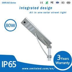 Tout en un seul 40W 50W 60W 80W 100W Outdoor étanches IP65 Capteur de mouvement LED intégrée de la lampe de la rue solaire
