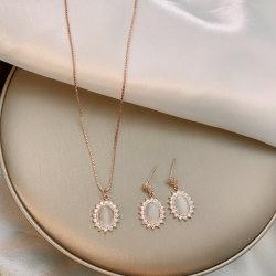 De Koreaanse Opalen Nauwsluitende halsketting en de Oorringen van de Manier van het Ontwerp van de Luxe van de Halsband voor Meisje