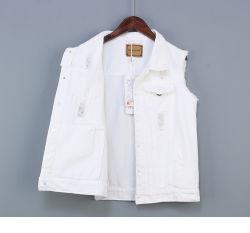 Processamento de Garment Adaina personalizado fabricado na Primavera de 2021 Thin Dark Colete de ganga para mulher de curta duração com mangas finas Jeans Kamsrever Coreano grande