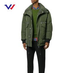 Los hombres de color verde militar de la carga de grandes bolsillos invierno Puffer chaqueta