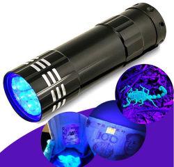 Mini 9 светодиод алюминиевых УФ фонарик светодиодный фонарик черным светом