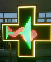 P10 Doppelt-Seite farbenreiches programmierbares LED Zeichen-Apotheke-Kreuz