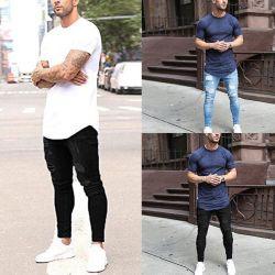 نمط جديد لون مخصص 100% من الرجال القطنية الجينز ممزق