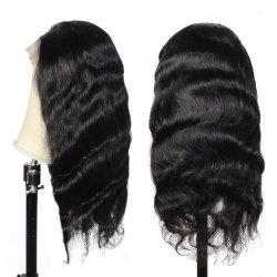 Commerce de gros Fashion noir vierge péruvien Cheveux humains peau mince Swiss Full Lace Wig Lace Front perruques