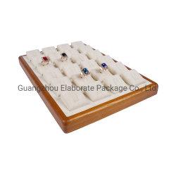 Venda por grosso de alta qualidade de carvalho sólido jóia de madeira de recolha de anéis de bandeja de apresentação