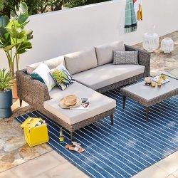 Современный дизайн водонепроницаемая ткань PE плетеной диван в саду