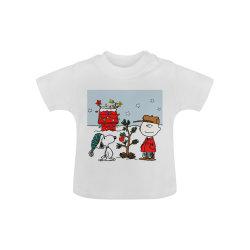 キッズカートゥーン T シャツベビーパウダーオーガニックショートスリーブカスタムプリントの子供用服
