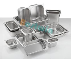 Alle Größen-Edelstahl-Nahrungsmittelspeicher Gastronorm Behälter-Dampf-Tisch-Wanne GN verschieben mit Entstören