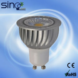 LED Spotlight PC+Aluminum Body GU10 COB IC Driver 6W Simmonable