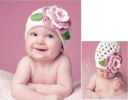 [ببس] `أغطية حبك قبعة مع زهرة