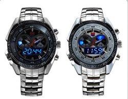 2013 Tvg hommes noirs de luxe en acier inoxydable de l'horloge du mode Sports binaire LED bleu Watch30 montres étanches Livraison gratuite