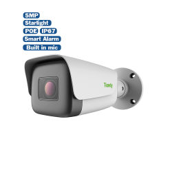 Tiandy Basic Style Outdoor 5MP HD Starlight gemotoriseerde zoom IR Nachtzicht gezichtsopname ingebouwde microfoon PoE CCTV IP Beveiligingscamera