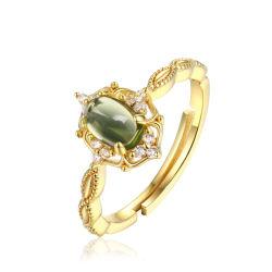 Anello ovale del Peridot delle 925 della pietra preziosa donne naturali d'argento dell'anello