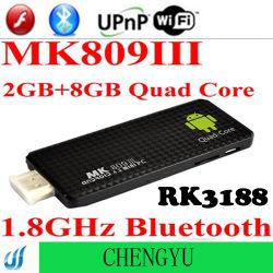 Mk809 III Vakje 4.2 van TV 1.8GHz Androind van de Kern Rk3188 van de Vierling 2GB MiniPC van de Dongle van ROM Bluetooth WiFi van de RAM HDMI 8GB