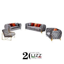 أثاث منزلى يقع على أريكة رويال ليجر ليفيلى ناعمة مصنوعة من الأقمشة Velvet أرجل معدنية