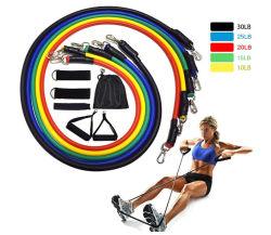 De Banden van de weerstand Geplaatst de Apparatuur van de Gymnastiek van de Trekkracht de Elastische Buis Yoga/11PCS van de Weerstand van het Huis van de Slijtage van de Sporten van de Oefening van de Apparatuur van de Fitness