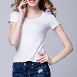 Индивидуальный логотип хлопок спандекс пустым моды Тонкие короткие женщин-V-образный вырез горловины короткие втулки футболка